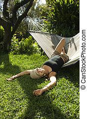 hammock., femme, flâner