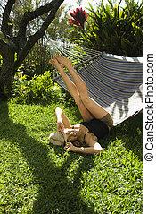 hammock., femme, jouer
