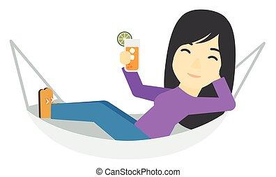 hammock., femme, mensonge
