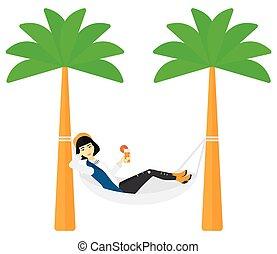 hammock., femme, refroidir