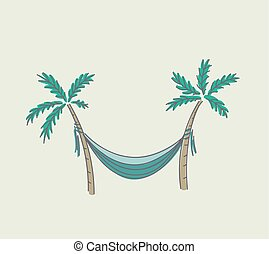 Hammock hung between two palms