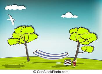 Hammock - Idyllic scene with a hammock, blue sky, books and ...