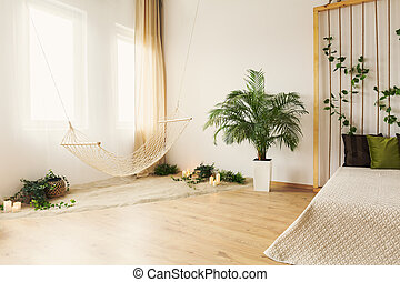 Hammock in bedroom