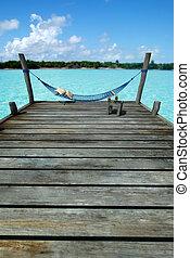 Hammock in tropical pier