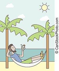 hammock., kühlen, mann