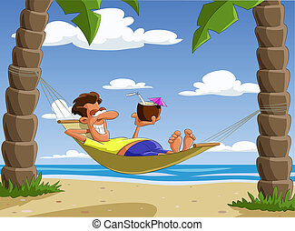 Hammock - Man lying on a hammock, vector illustration
