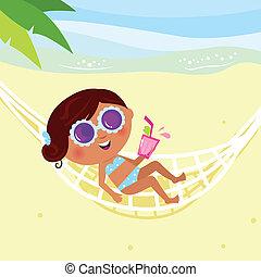 hammock., menina, biquíni, sunbathing, verão, illustration., vetorial, &, holiday: