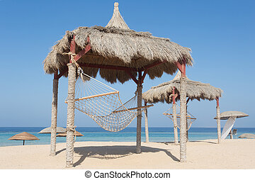 Hammock on a red sea beach in Marsa Alam, Egypt