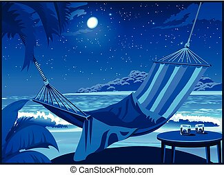 Hammock on the beach at night