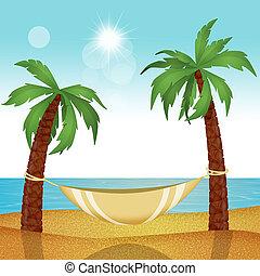 Hammock on tropical beach