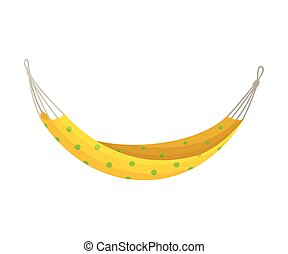 Hammock patterned yellow. Vector illustration on white background.