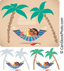 Man relaxing in hammock. The illustration is in 3 versions. No transparency and gradients used.