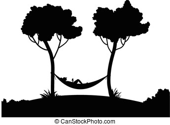 hammock silhouette - vector, black silhouette of trees and a...
