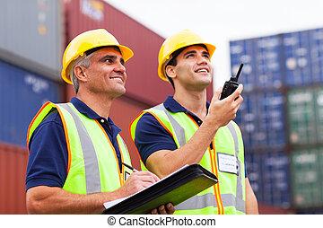 hamn, arbetare, övervakning, behållare, ladda