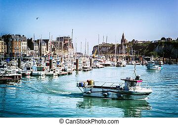 hamn, av, dieppe, in, normandie, frankrike