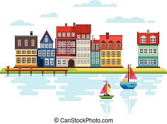 hamn, fartyg, flod, strand