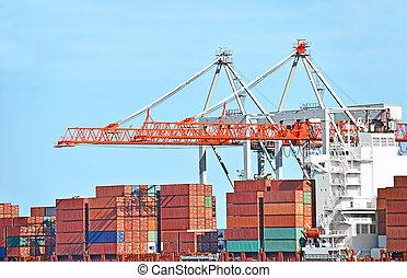 hamn, frakt, kran, och, behållare