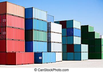 hamn, last behållare, gods, terminal