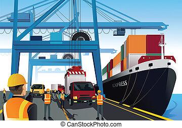 hamn, skeppning, scen