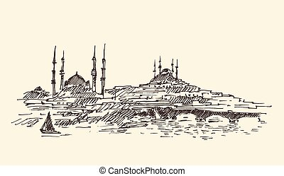 hamn, skiss, årgång, istanbul, turkiet, inrista