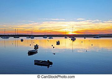 hamn, skymning,  alvor,  portugal