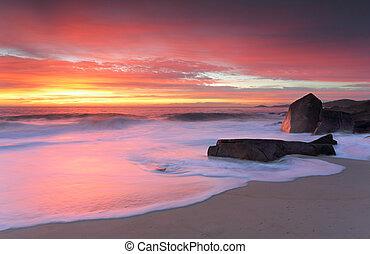 hamn, stephen, glödande, in, morgon, soluppgång