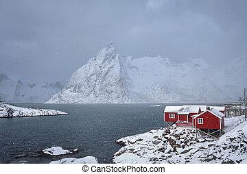Hamnoy fishing village on Lofoten Islands, Norway - Red...