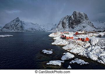 Hamnoy fishing village on Lofoten Islands, Norway - Iconic...