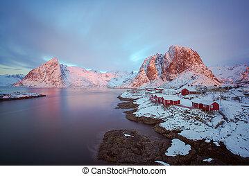 Hamnoy, Lofoten islands - Colorful sunrise over Hamnoy,...
