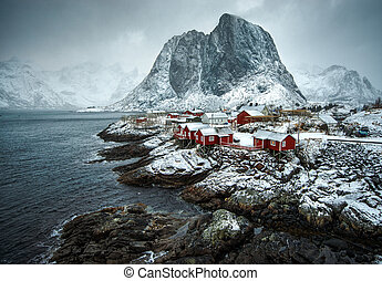Hamnoy village in Lofoten islands of Norway in winter time....