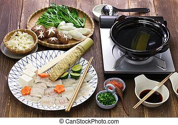 Hamo (pike conger) shabu-shabu, Japanese hot pot cuisine - ...