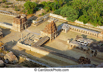 Hampi, India, Ancient Hindu temple - Elevated view of ...