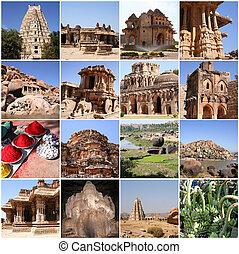 Hampi, Karnataka, India - Collage of Hampi, Karnataka, India