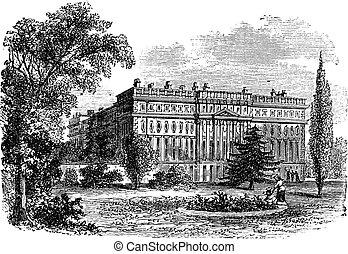 Hampton Court Palace, London, England vintage engraving. Old...