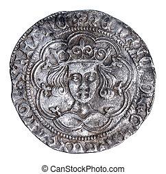 hamrad, silver, groat, av, henry, vi, från, 1430-1431,...