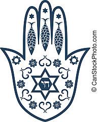 hamsa, żydowski, -, amulet, poświęcony, mir, albo