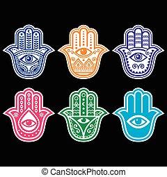 hamsa, 手, fatima 的手, -, 護身符