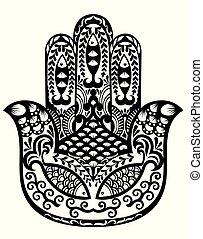 hamsa, fatima 的手, 矢量, 插圖