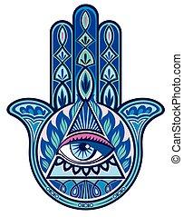 Hamsa hand - Decorative hand with human eye