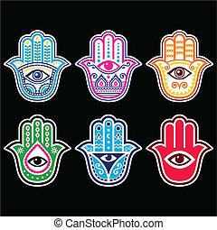 hamsa, hand, -, hand, amulett, fatima