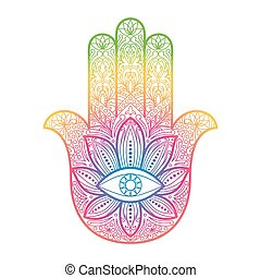 Ornate hand drawn hamsa. Hand of Fatima. Arabic, Indian and Jewish amulet. Colorful sign for tattoo, textile prints, mascots