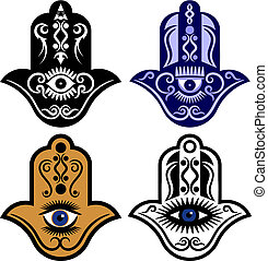 Hamsa Hand Or Eye of Fatima - Vector illustration of a set...