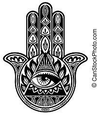 Hamsa hand - Vector decorative hand with eye