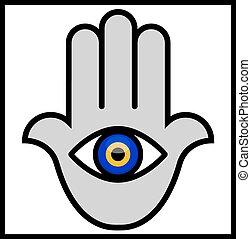 hamsa, olho, mal, mão