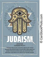 Hamsa talisman and Star of David, Judaism religion - Hamsa...