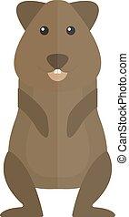 Cute standing brown hamster cartoon flat vector illustration.