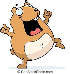 Hamster Dancing - A happy cartoon hamster dancing and...