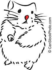 Hamster, illustration, vector on white background.