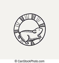 Hamster running in the wheel sketch icon. - Hamster running...