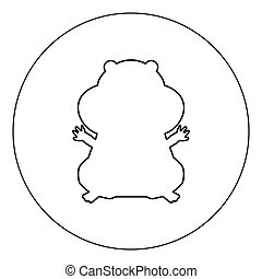 Hamster silhouette icon black color in circle vector...
